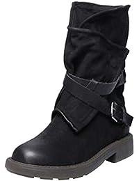 Botas planos alto top de medieval style para mujer,Sonnena Botas de estilo militar medio de moda Zapatos de mujer de hebilla de cuero artificial Patchwork