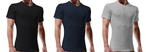 3 t shirt corpo uomo mezza manica scollo punta cotone LIABEL art. 04428/T53G colorate