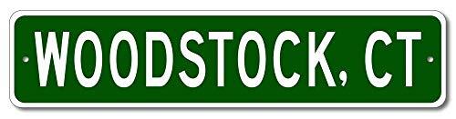 Blechschild Woodstock Connecticut USA Custom America City and State Namenschild aus Aluminium, Grün