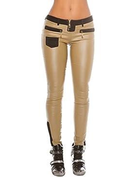 Elegante Mujer Pantalón Pantalón Camuflaje Talla S M L XL XXL * con Piel imitación de plástico Applikation Push...