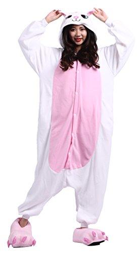 DELEY Unisex Erwachsene Cartoon Weiße Katze Kigurumi Kapuzen Strampelanzug Cosplay Anime Pyjamas Nachtwäsche XL
