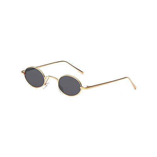 Sport-Sonnenbrillen, Vintage Sonnenbrillen, Vintage Oval Steampunk Sunglasses Men Women Brand Designer Small Metal Sun Glasses Retro Driving Glasses Oculos De Sol C5GoldGrey