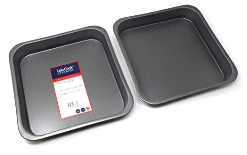 25,4cm quadratisch Kuchen und Backen Dose Twin Pack, 25cm, British Made mit GlideX nicht-Stick® TM von Lets Cook