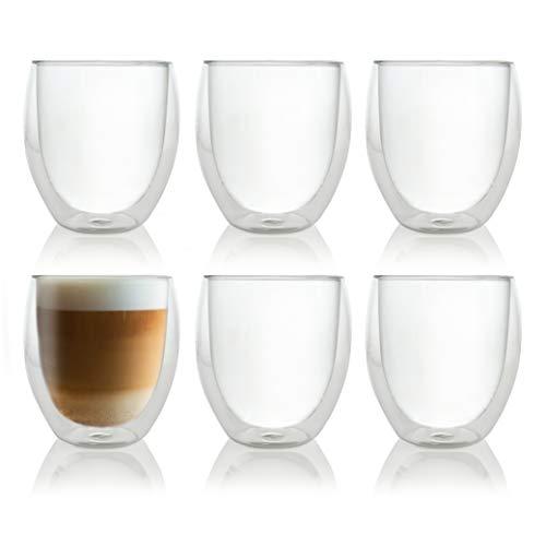 Caffé Italia Roma 6 x 250 ml Doppelwandige Gläser - Thermogläser für Cappuccino Tee Heiß- und Kaltgetränke - spülmaschinengeeignet -