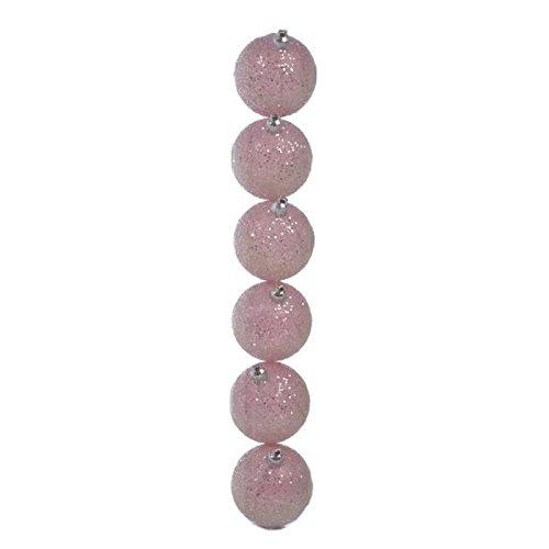 J-LINE Lot de 6 boules de noël a paillettes diametre 6 cm rose