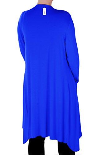 Eyecatch - Della Grand Asymétrique Dames Désinvolte Cascade Cardigan Aux Femmes Haussement D'Épaules Ouvert Cardigan Bleu Royal
