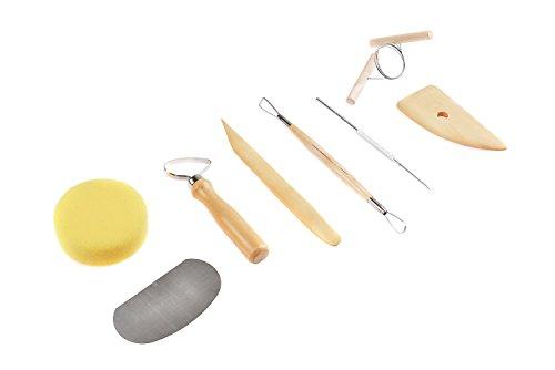 Werkzeugset Töpferei aus Holz und Metall, 8 Werkzeuge (Drehschiene und Modellierwerkzeug aus Buchsbaumholz, Modellierschlinge, Schwamm, Töpfernadel, Bildhauerschlinge, Ziehklinge aus Metall, Schneidedraht), Mod. PTK-01