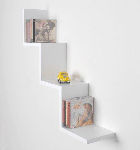 ts-ideen Étagère de salon zigzag design rétro CD DVD étagère murale étagère murale en blanc brillant