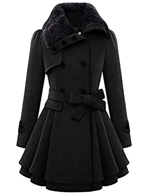 VaeJY Women Thicken Double Breasted Outerwear Winter Faux Fur Collar Pea Coat