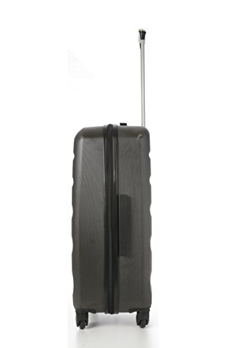 Aerolite Leichtgewicht ABS Hartschale 4 Rollen Trolley Koffer Reisekoffer Hartschalenkoffer Rollkoffer Gepäck, 69cm, Kohlegrau/Gold - 2
