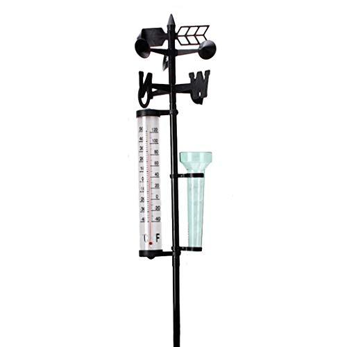 Fenteer Wetterstation mit Regenmesser, Thermometer und Windrichtungsanzeiger im Garten und Innen