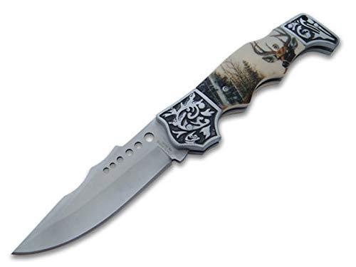 KOSxBO® wunderschönes Waidmannsheil Jagd Taschenmesser 21 cm Gesamtlänge - Klappmesser - Faltmesser - Dear Hunter Knife mit Hirsch Motiv -