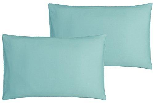 P'tit Basile - Lot x2 Taies d'oreiller bébé - dimensions 40x60 cm - Coloris Turquoise - Coton biologique de qualité supérieure, 57 fils/cm2, Tissage serré pour plus de douceur.