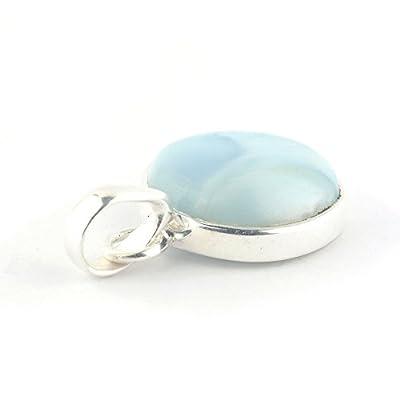 Pendentif rond de minéral Larimar bleu clair serti d'argent 925, 16x16x6 mm