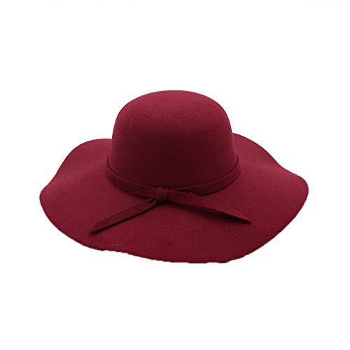 Frauen Wollfilz Hut Welle breiter Krempe Fedora Hats Dome Top Formale Melone für Herbst Winter (Gold Rush Kostüm)