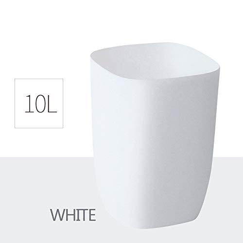SONGDP Mülleimer, Innenmülleimer , Geeignet für Küche/Bad/Wohnzimmer/Büro, Kunststoffdosen , 10L , Abfalleimer , Schritt Dose (Farbe : Weiß)