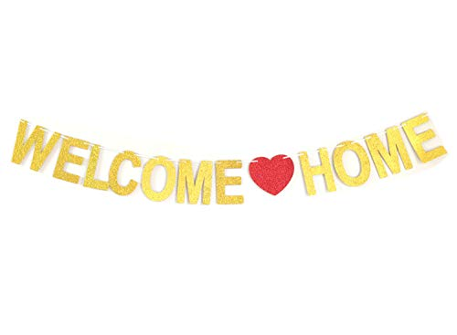 andfun party Real Glitter Banner Welcome Home Banner Welcome Decoration Bunting Welcome Sign