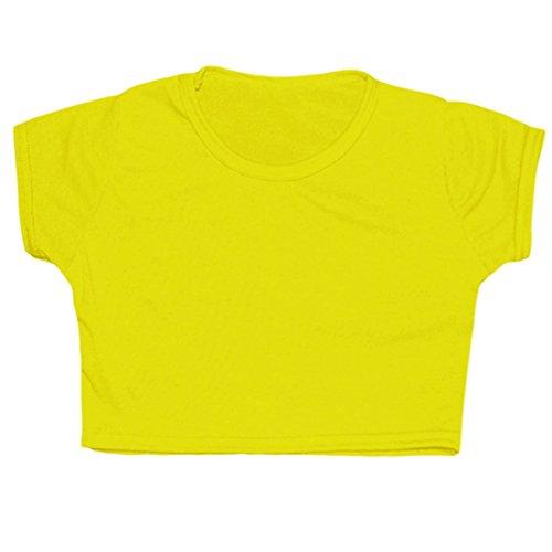Kinder Mädchen Neon einfarbiges, Fluoreszierendes, kurzärmeliges T-Shirt, Bauchfreies Top für Tanzen und Gymnastik, Alter 5 bis 13Jahre Gr. 33 cm, Neon - Tween Girls Kostüm