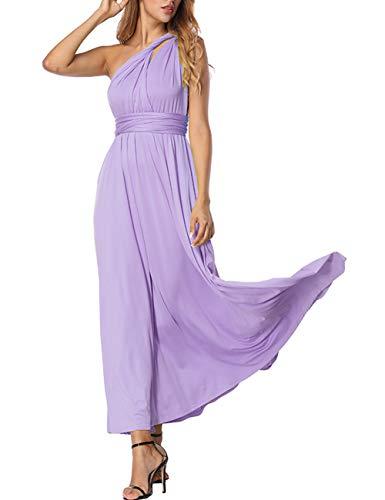 Abendkleid Abendmode Lang Bustierkleid Party Mermaid Kleid Brautkleid Etuikleid Festlich Rot Weiß Schwarz Damen Mädchen (L(EU 42-44), Lila)