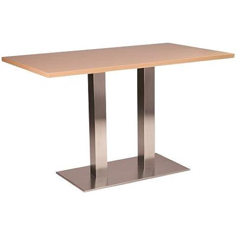 Daniella tavolo da pranzo rotondo piccolo–Base in acciaio inox con diverse taglie e colori, metallo Legno, Beige, 80 x 120 cm