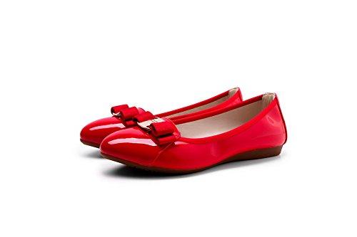 Baixo Salto Puramente Em Senhoras Um Voguezone009 Couro Vermelhos Puxar Sapatos Rodada Toe Bombas xqXIBCvw
