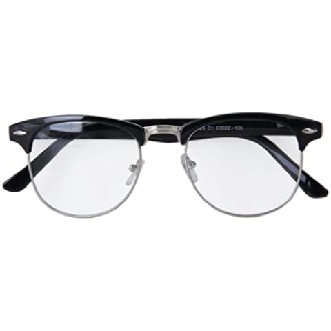 Gafas Retro de Moda Anteojos con Marco de Metal y Lentes Transparente