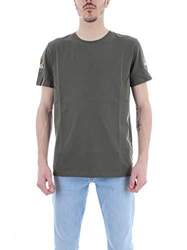 Herren-usa 10 (Alpha Industries NASA T-Shirt Dunkelgrün L)