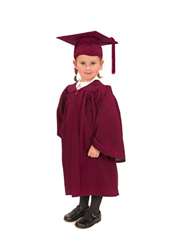 childrens-graduation-gown-with-matching-hat-tassel-ages-3-5-matte-finish-maroon