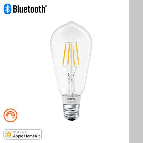 Osram Smart+ Lampadina LED a Filamento Bluetooth Compatibile con Apple Homekit e Android. Forma Edison, E27, 50 W Equivalenti, Dimmerabile, 4 Pezzi