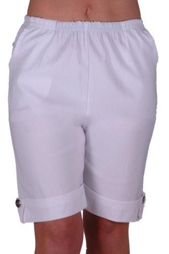 EyeCatch - Eta Womens Elasticized Flexi Stretch Ladies Shorts Plus Sizes White Size 20