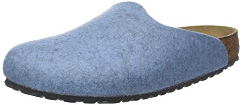 BIRKENSTOCK Damen Amsterdam Wolle Pantoffeln, Blau Melange Light Blue, 38 EU (Birkenstock Einlegesohlen Blau)