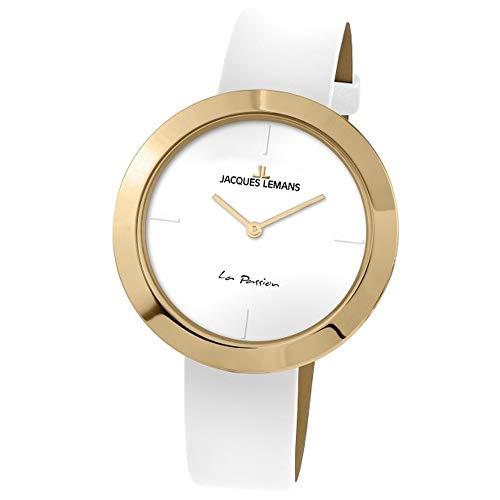 Jacques Lemans Women's La Passion 37mm White Leather Band Quartz Watch 1-2031F