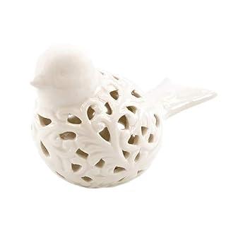 Vogel Keramik, Vogel - Dekoration, weiss, Keramikfigur