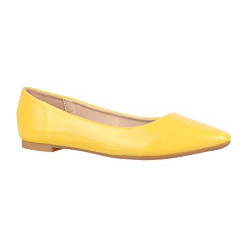 Elara Damen Ballerinas   Bequeme Slip-Ons   Flache Freizeitschuhe   chunkyrayan 4925 Yellow-39 -