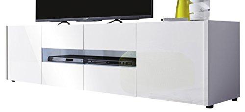 trendteam IM32201 TV Möbel Lowboard weiss Hochglanz lackiert, BxHxT 173 x 45 x 39 cm