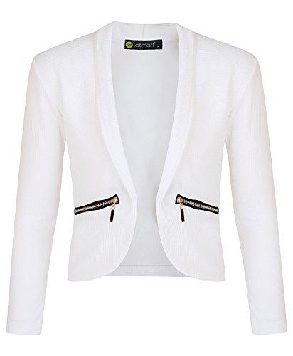 LotMart Mädchen langärmlig offene Vorderseite Reißverschluss Tasche Jacke Kinder Blazer Strickjacke TOP - Weiß, 104