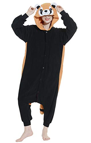 Adulto cosplay animale pigiama onesie unisex kigurumi per altezze da 140 a 187 cm, panda rosso