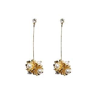 AWAKINK 925 Sterling Silver Stud Handmade Brass Flower with Artificial Pearl Drop Dangle Earrings for Women Girls