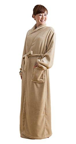 mofua モフア プレミアム マイクロファイバー 着る 毛布(ガウンタイプ) フリー ベージュ 50036605