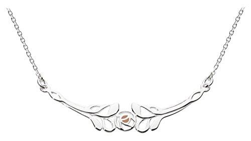 Heritage Halskette mit Rotgold- und Sterling-Silber-Beschichtung inkl. Anhänger in Mackintosh-Rose-Design, Länge 45,7 cm -