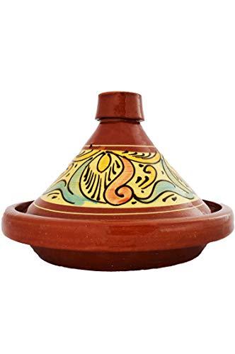 Marokkanische Tajine Topf zum Kochen | Schmortopf glasiert Chaouen Ø30cm 4-5 Personen | inklusive Rezept und Gebrauchsanweisung | ORIGINAL Tontopf handgetöpfert aus Marokko