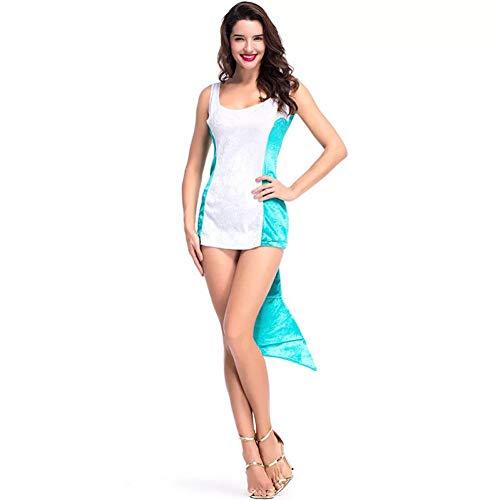 Mädchen Kostüm Schwänze Kleid Teen - ZAOWEN Halloween Kostüm Teen Mädchen Und Frauen Halloween Blauen Delphin Kostüm Hoch Und Niedrig Mini Kleid Schwanz Lustige Kostüm Damen
