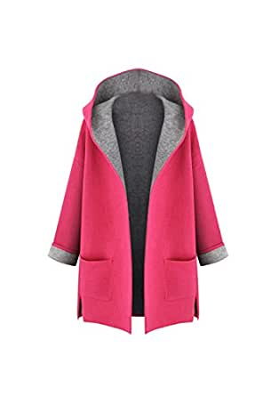 Zilcremo Women Casual Long Sleeve Autumn Winter Hooded Midi Woolen Trenchcoat Outcoat Plus Size Pink 3XL