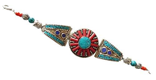 che Silber Link Armband in Koralle, Türkis & Lapis Lazuli Edelstein für Frauen & Männer, einzigartige Zigeuner Designer Boho Vintage buddhistische Mode Armband Schmuck Handwerker ()