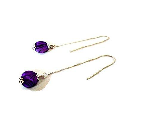 chanes-doreilles-fines-en-argent-925-perles-shell-violettes-marbres