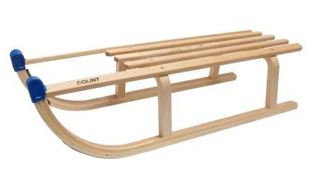 Schlitten Rodel Schlitten Holz DAVOS 90 cm Buchenholz Schnee