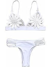 Fossen Mujer Push Up Bikini Conjunto de Traje de Baño Bañador del Floral Transparente