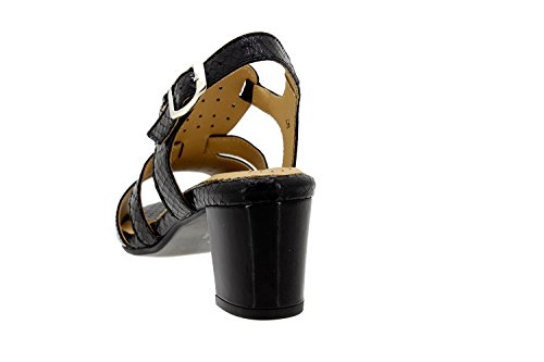 Scarpe donna comfort pelle Piesanto 8493 sandali larghezza speciale Negro