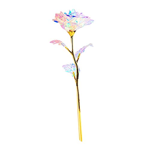 Bunte leuchtende künstliche Blume Rose einzigartige Geschenke für Mädchen 24K Goldfolienrose Steigung YunYoud perfekt und tadellos bunte Rose