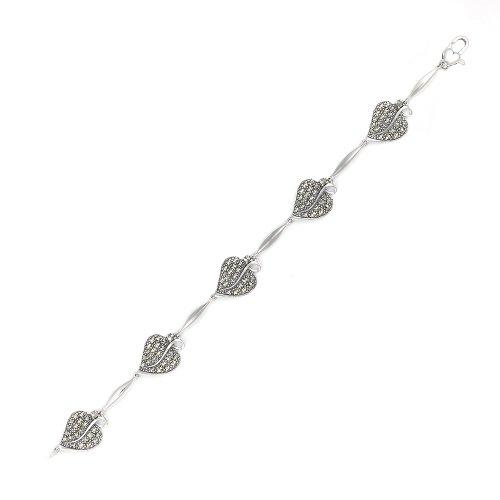 Esse Marcasite Ring Jugendstil Blattmotiv Sterling-Silber 925, mit Markasit und Herzverzierung Karabinerverschluss 17,8 cm